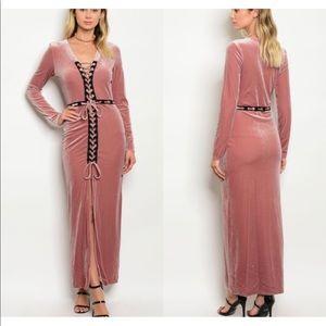 Pants - NWT Unique Mauve Velvet Lace Up Dress